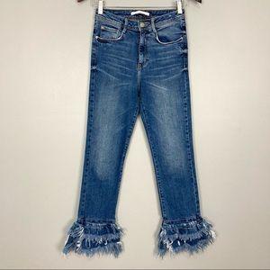 Zara Denim Ruffle Hem Jeans High Rise Frayed Retro